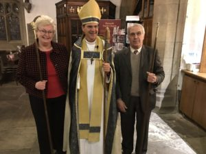 Bishop Toby with Church Wardens Diane Wilson (Left) and Peter Breed